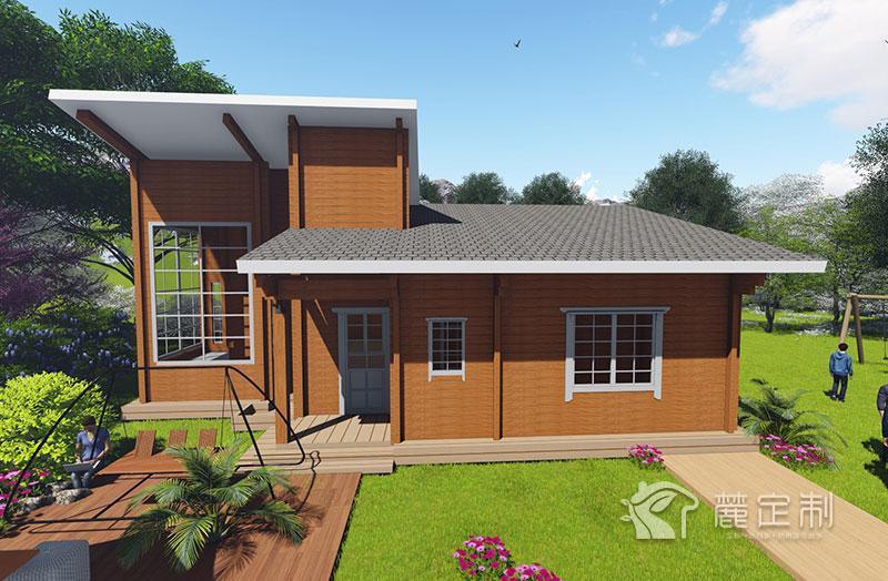 西式单层湖畔原木结构木屋自建房设计建造效果图